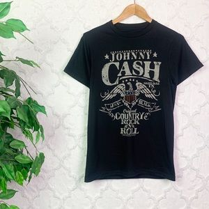 Johnny Cash Eagle Man In Black Graphic Tee